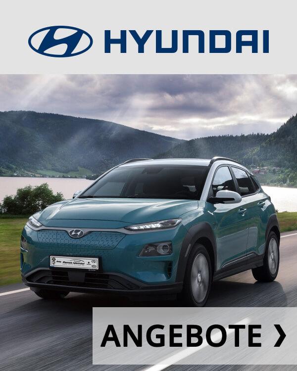 Autohaus Renck-Weindel - Hyundai Kona Elektro hellblau mit Angebots Logo
