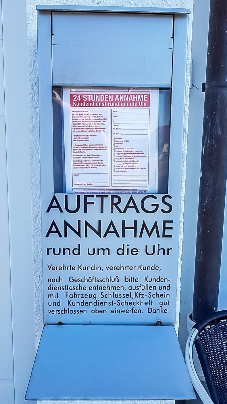 Briefkasten für Auftragsannahme - Autohaus Renck-Weindel